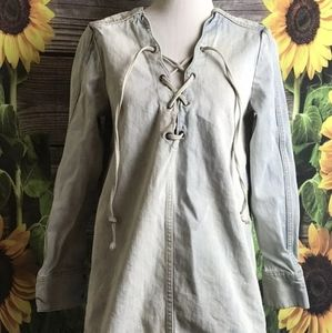 Washed out blue cloud soft denim lace up tunic top